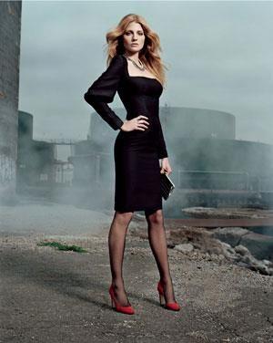 Черные чулки красные туфли модели