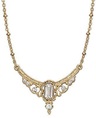 Downton Abbey Necklace, Gold-Tone Edwardian Jewel Collar Necklace