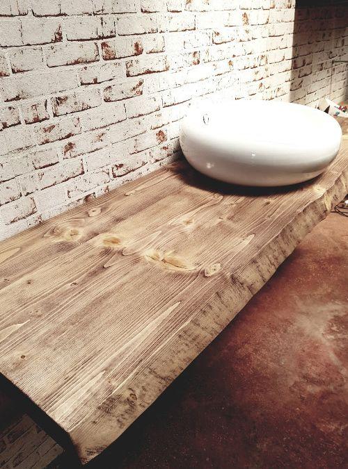Top per lavabo da appoggio in legno massello effetto rustico ...