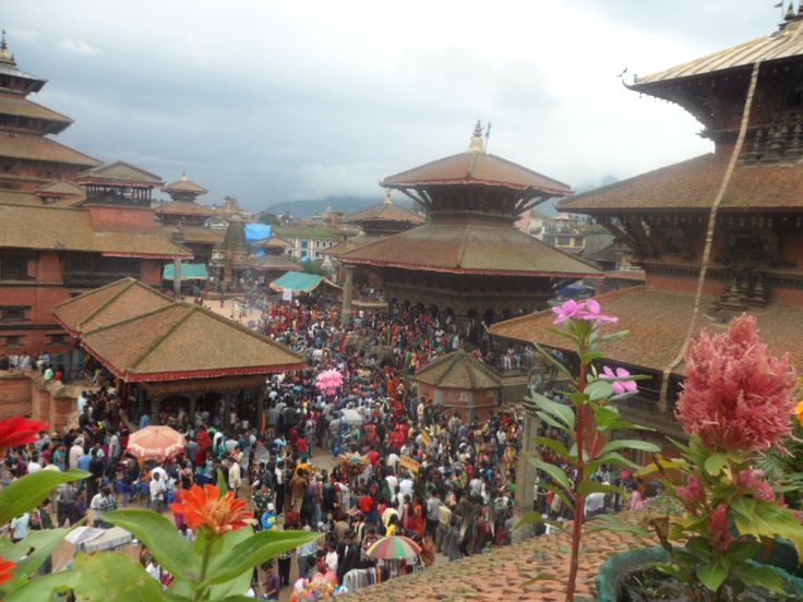 Patan Durbar Square on a festival day (therefore there is a crowd!)