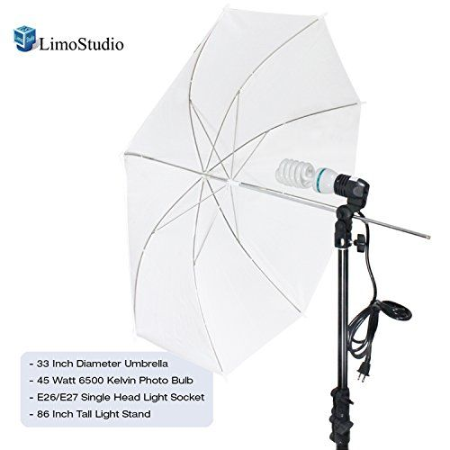 "LimoStudio Photography White Photo Umbrella Light Lighting Kit, AGG1754  [1 x] 86"" Tall Umbrella Flash Strobe Light Stand  [1 x] Studio Single Head Photo Lighting Fluorescent Light Holder  [1 x] Digital Full Spectrum Light Bulb - 45W Photo CFL 6500K, Daylight Balanced, Pure White  [1 x] 33"" Photography Studio Translucent Shoot Through White Umbrella Photo Video umbrella"