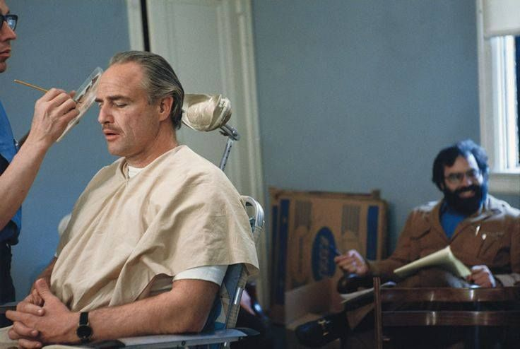 Marlon Brando and Francis Ford Coppola during Godfather Makeup Session by Steve Schapiro