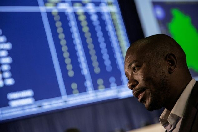South African main opposition Democratic Alliance (DA) party leader Mmusi…
