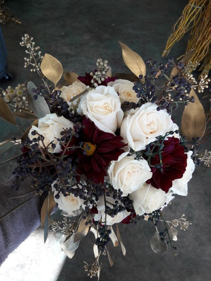 Gold White Burgundy And Navy Bridal Bouquet Using Roses