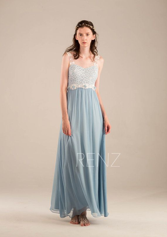 2015 Steel Blue Bridesmaid dress Baby Blue Long by RenzRags