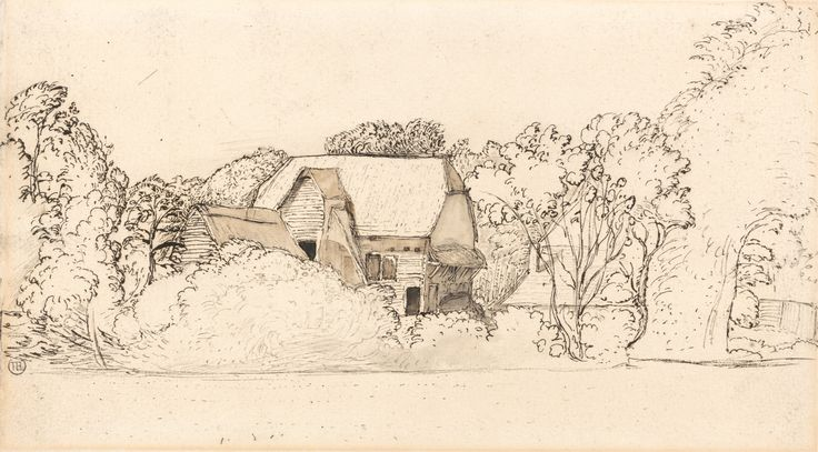 Samuel Palmer, 1805-1881, British, active in Italy (1837-1839), An Ancient Barn at Shoreham, undated, Pen and black ink, gray wash, brown wa...