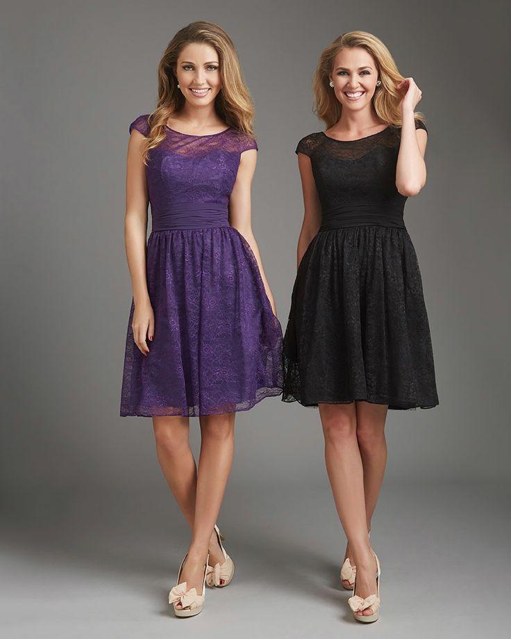 Purple Lace Tank Top Knee Length A Line Bridesmaid Dress B1ae0007