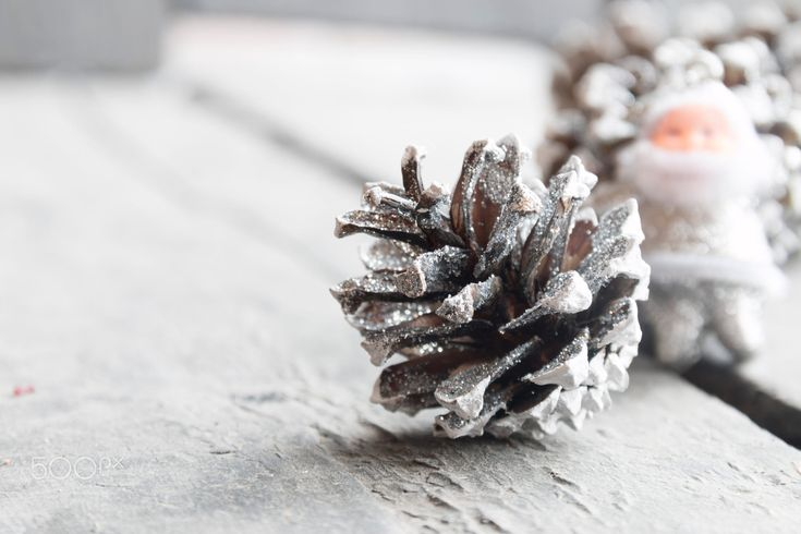 Beautiful Christmas silver decoration, fir cones and Santa Claus