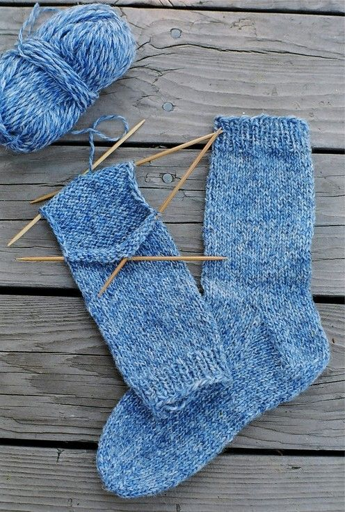 """Beginner Socks (Cuff Down) but easier to do on 2 circular needles...for this technique, see booklet: """"Socks Soar on Two Circular Needles"""" by Cat Bordhi"""