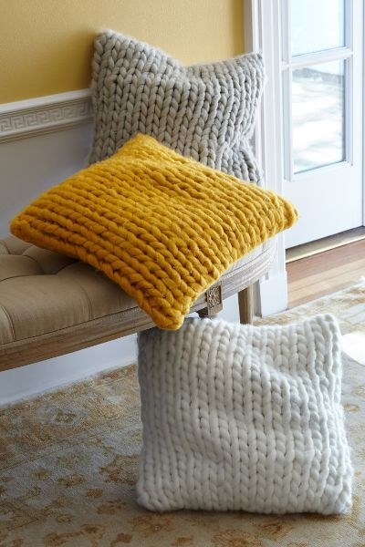 Soft & beautifully textural, our Chunky Knit Pillow is sweater-knit of thick, chunky braided yarns.