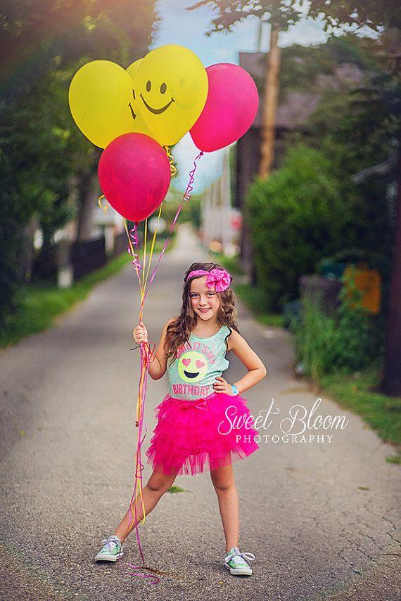 Birthday Shirt Girls Emoji Shirt Glitter Shirt Birthday by madgrrl