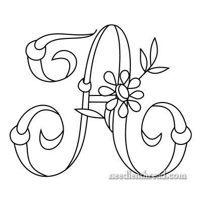 Monograma para bordado a mano: 'A'