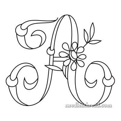 Free Monogram for Hand Embroidery: 'A' via Mary Corbet