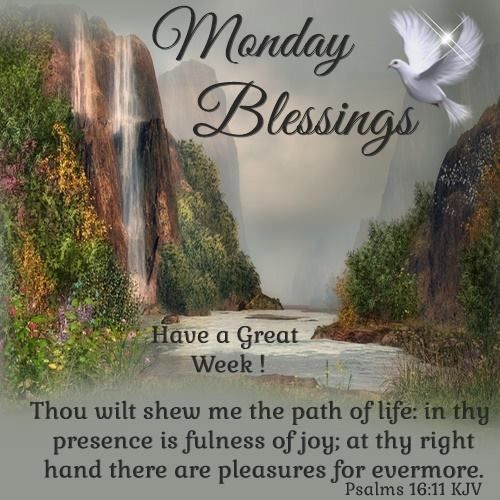 Monday Blessings, Psalms 16:11. Have a great Week!