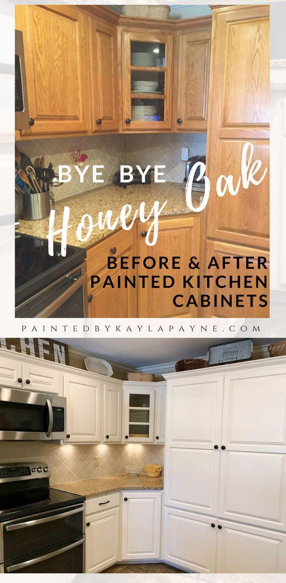 Bye Bye Honey Oak Kitchen Cabinets Hello Brighter Kitchen Kitchen Bathroom Paint Ideas Cheap Kitchen Cabinets Kitchen Cabinets Oak Kitchen Cabinets
