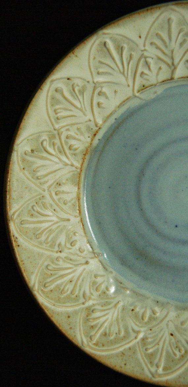 Plate White Blue Fancy  Handmade Pottery by saxondesignstudio, $26.00