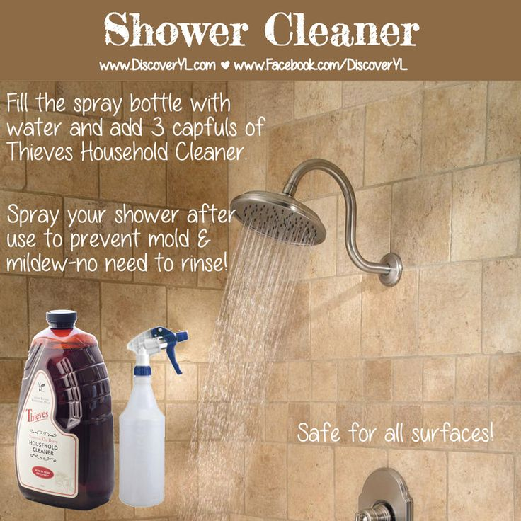 Clean Your Shower with Thieves Cleaner: Carrie Martin-Vegue YL#1406762 ylessentialoilliving@gmail.com