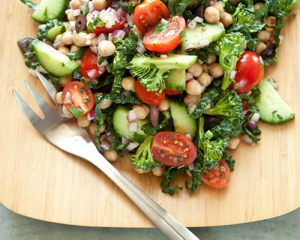 Mediterranean Crunch Salad - chickpeas, cucumber, broccoli, grape tomatoes, kale, red onion, Kalamata olives, red wine vinegar, garlic clove, fresh parsley, fresh thyme