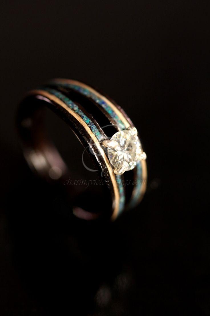 Diamond Engagement Wooden Ring made of Ebony, Maple and Azurite Stone. $790.00, via Etsy.