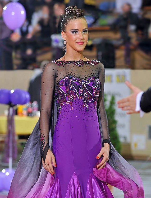 S985 Purple Black Standard Dance Costume - Dreamgown