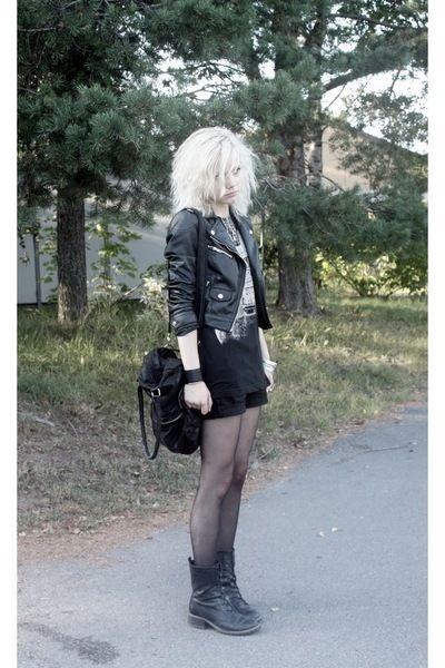 combat boots + shorts + tights + band shirt + motorcycle jacket