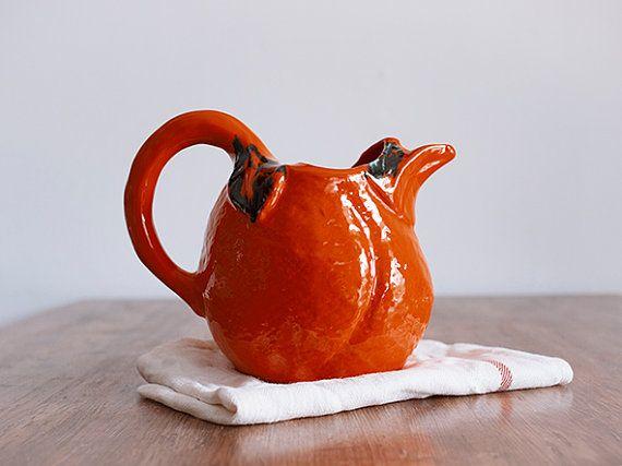 Урожай французский кувшин для воды, керамический кувшин, графин вина, вина кувшин, керамика и керамика, ретро Кухня ручной работы, богемский Декор, оранжевый