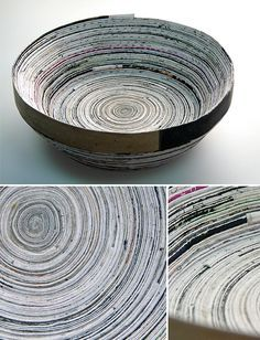 Photos d'un bol fait de bandes de papier de revue collées