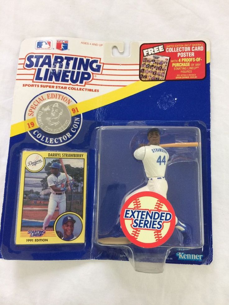 Starting Lineup Darryl Strawberry 1991 w/ Coin Kenner Extended Series #Kenner