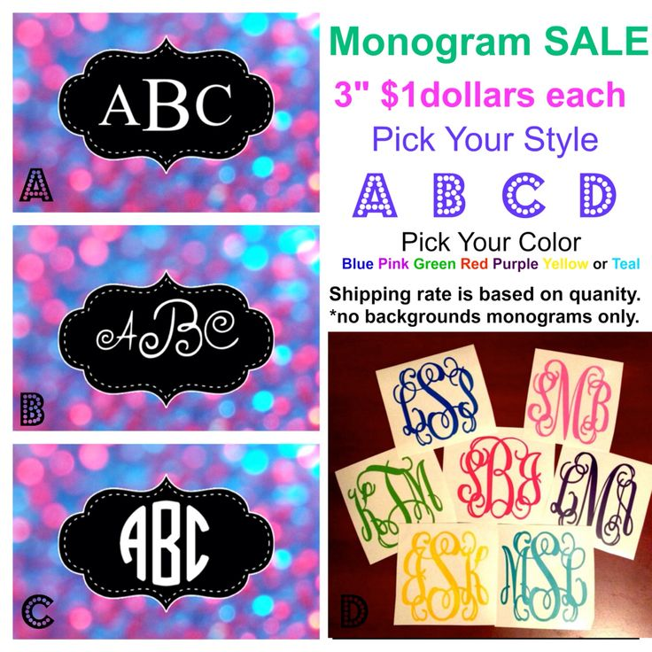 "Monogram Sale 3"" vinyl decals custom orders to melissa@imagineitvinyl.ca"