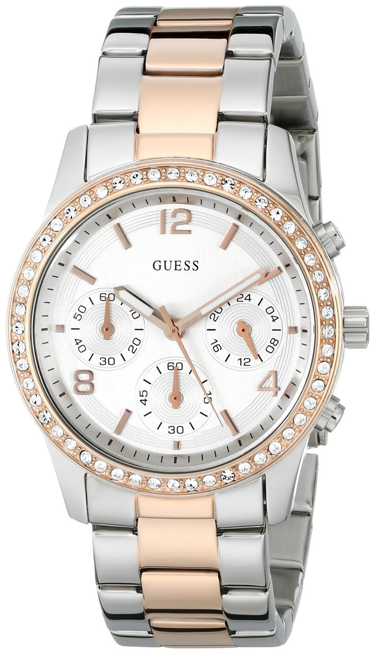 Guess U0122L1 chronograph silver dial stainless steel bracelet women watch NEW. Brand:Guess. Model: U0122L1. Condition:brand new with Tags. Band color: rose gold/silver. Dial color: silver.