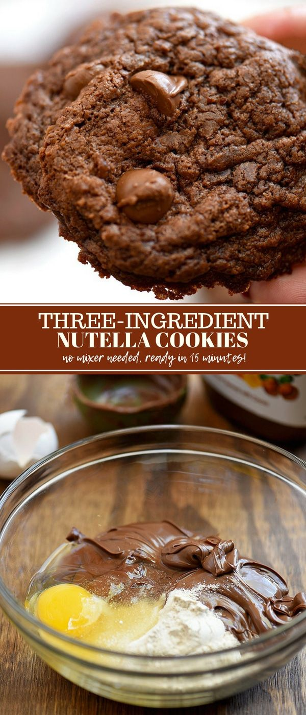 Nutella Cookies recipe with only three ingredients, no mixer needed, and ready in 15 minutes! They're chewy, fudgy, and chocolatey treats the whole family will love!