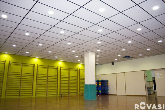 CEIP RAMON I CASAS. Barcelona. DOWNLIGHTS+IP accessory. Recessed downlights with IP65 from underneath accessory. ROVASI BOOK 11-12.