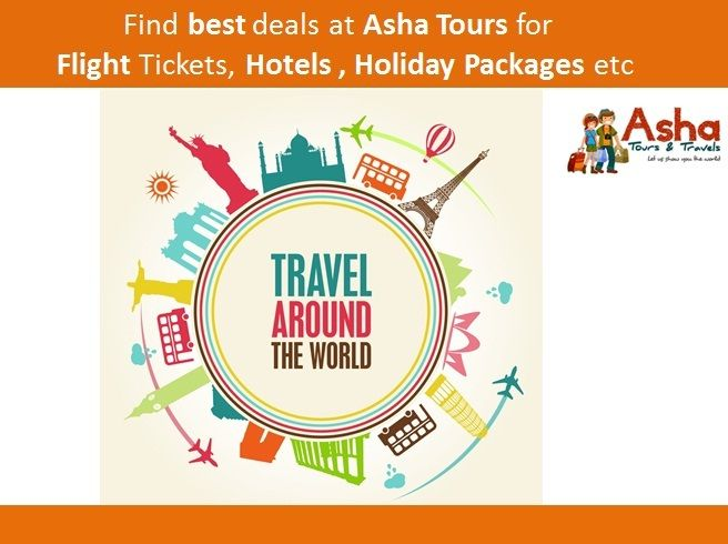 Find best deals atAsha Toursfor Flight Tickets, Hotels ,Holiday Packages etc. Call us to get best discounts 09833477689/09920033687 & Email us at info@ashatat.com, sales@ashatat.com. Visit us at: www.ashatat.com  #Asha #Tours #Flight #Tickets #Hotels #Holiday #Packages #Best #Deals