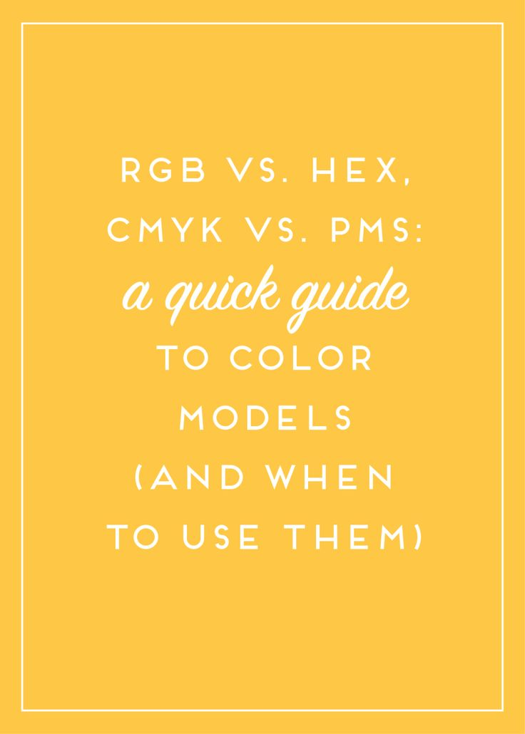 RGB vs Pantone PMS vs CMYK vs HEX. When you're trying to sort through all the color options, and determine which one you need, this guide will help! Don't feel overwhelmed or unsure again. Pin this for later so you can come back and reference time and time again!