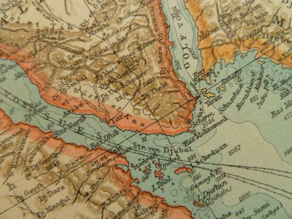 1902 old map of Egypte and Red Sea - antique print  - Cairo Nubien ägypten Nubia Khartoum 27x44cm/11x17''