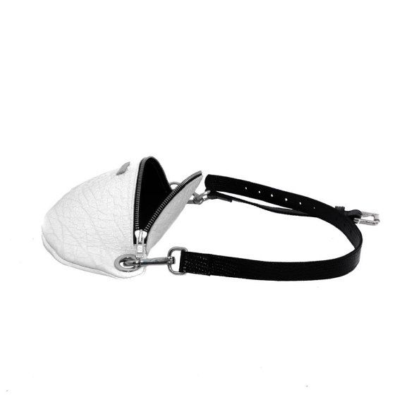 Leather waist bag hip bag black and white leather от MONAObags