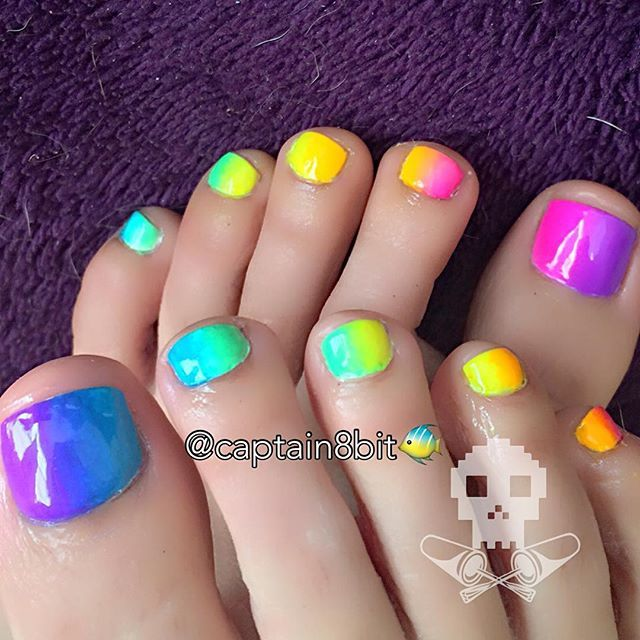 bright neon rainbow gradient pedicure! 💗💛💚💙💜 i just felt like doing something summery on my toes. 🌈 & as always, it's way brighter in person. :p
