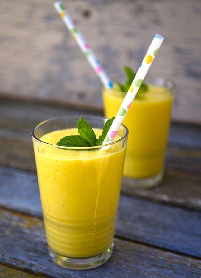 Mango Lassi...! Healthy refreshing summer drink!   2 mangos, peeled sliced    1 cup plain whole milk yogurt   1/2 cup coconut milk    2 tablespoons simple syrup  1 teaspoon cardamon