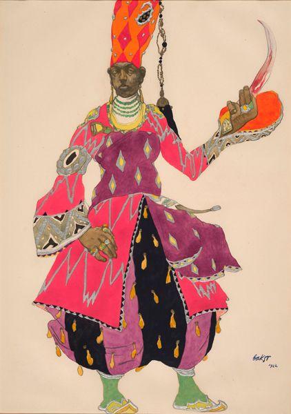 Léon Bakst (1866-1924). Schéhérazade, Costume design for Chief Eunuch, 1922. Watercolor, pencil and silver paint. Howard D. Rothschild. Framed storage. MS Thr 414.4 (20). Bequest, 1989.
