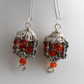 Unique Wire Wrapped Earrings / Small Lantern Earrings / Boho Trend Earrings by KalitheoCreations / KTC-153