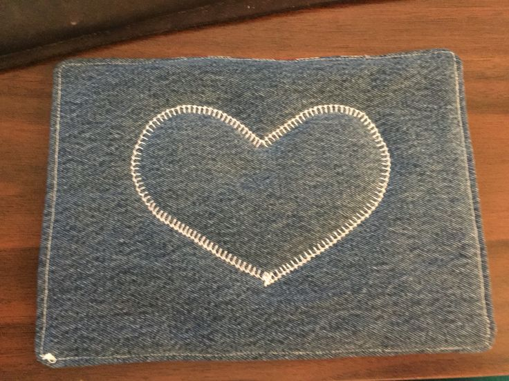 Mug Rug made with recycled denim jeans.