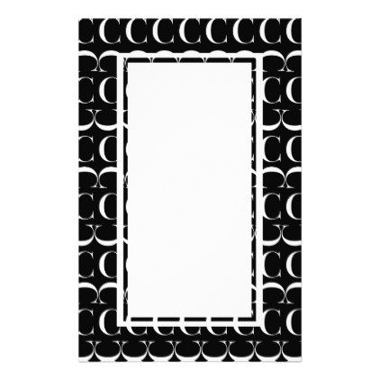 Monogram Initial Pattern Letter C in White Stationery - pattern sample design template diy cyo customize