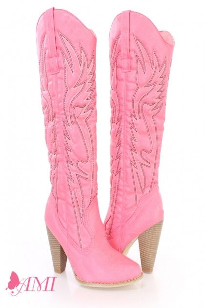 Pink Stitched Knee High Cowboy Boot - so pretty,