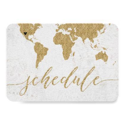 Gold Foil World Map Destination Wedding Schedule Card - wedding invitations diy cyo special idea personalize card