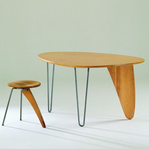 Designer: Isamu Noguchi | Dinette Table IN-20 (and Stool) | Design: 1949 - 50 Production: 1949 - 50 Manufacturer: Herman Miller Furniture Company, Zeeland, Michigan Size: 66 x130 x 91.5 cms/45 x 35.5 x 45; seat height 45 cms Material: birch wood, steel rods /birch wood, steel rods, rubber