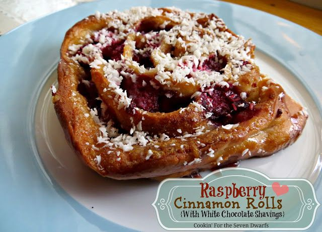 ... Seven Dwarfs: Raspberry Cinnamon Rolls {With White Chocolate Shavings