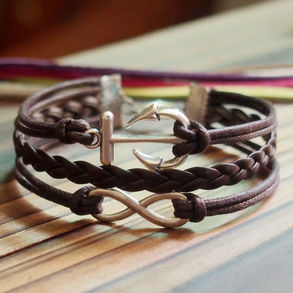 Tutorial: Silver Infinity Anchor Charm Bracelet-Full Brown wax cords Braided leather Bracelet-Charm Personalized Friendship Jewelry