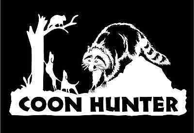Coon-Hunter-Decal-hunting-dogs-treeing-raccoon-car-truck-vinyl-graphic-sticker