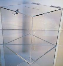 Medium clear acrylic raffle Charity Ballot Donation Box w/lock 8 x 8 x 8