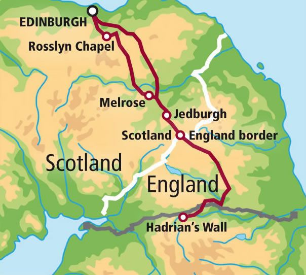 Private Tour Rosslyn Chapel The Borders And Hadrian S Wall Map Scotland Tours Rosslyn Chapel Scotland